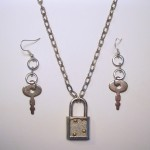 Lock & Key Necklace & Earing Set